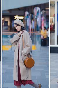街拍:驼色贝雷帽搭配驼色大衣,最能凸显女性优雅气质